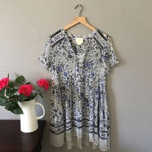 Anthropologie Blue Print Sheer Dress